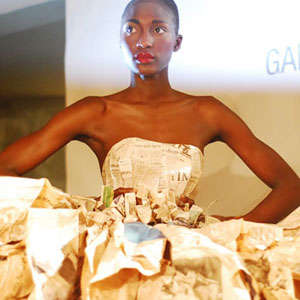 Newspaper Couture Fashion Shows - Upcycled Ball Gowns Take the Spotlight at the Green Show