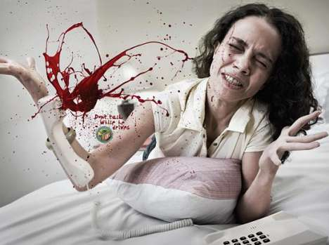 Blood Spurting PSAs - The Bangalore Police Ad Campaign Targets Cell Phone Driving Enablers