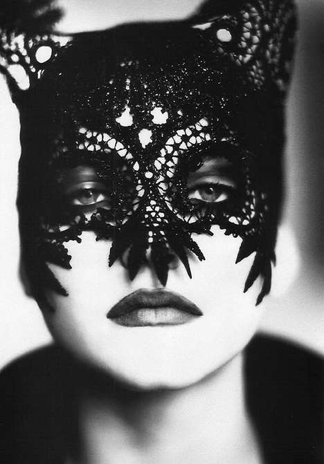 Lace Catwoman Masks - Nadja Auermann Plays Dual Personalities in an Ellen von Unwerth Shoot