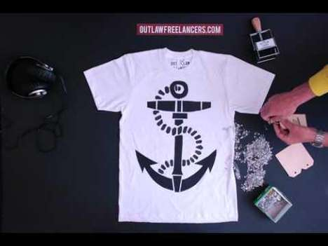 Stop Motion Apparel Vids - The Outlaw Freelancers 56sec Tee Video Applies Old School Graphics
