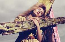 Driftwood-Hugging Fashiontography - Model Anna Jagodzinska for 'Kiss The Sky' in Vogue China