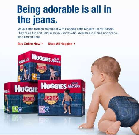 Denim Diapers - Huggies Little Movers Jeans Diapers Make Your Baby a Trendsetter From Birth