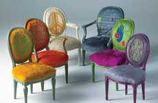 Psychedelic Cowhide Seating