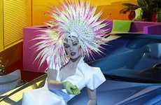 Spiky Neon Headdresses - The Milla Jovovich Mercedes-Benz Campaign is Down the Rabbit Hole