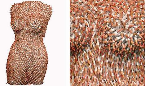 Womanly Pencil Sculptures - Female Torsos by Federico Uribe are Made of Unusual Materials