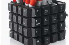 Upcycled Desk Accessories - The Keyboard Pencil Cup Brings Writing and Typing Together