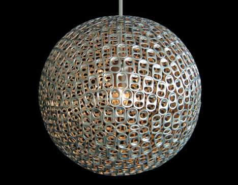 Pull Tab Pendant Art - Mauricio Affonso Desgins New Lamp Made from Old Soda Can Tabs