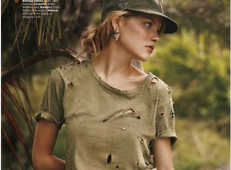 Feminine Military Fashion - 'Storming the Beach' in Elle US Sends in Style Reinforcements