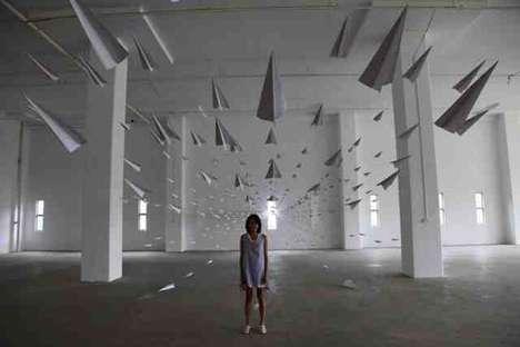 Exploding Paper Plane Art