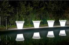 Glowing Planters - The LED Light Pots from Rotoluxe Set Your Garden Aglow