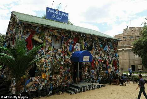 Temporary Trash Tourism - The Save the Beach Hotel in Rome is Made from Recycled Rubbish