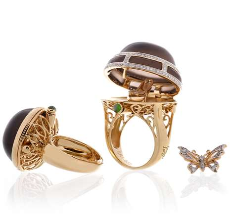 Peek-a-Boo Rings - The Saggi Jewelry Line of Trinket Box Baubles Pop Open to Reveal More Bling