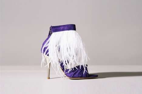 Purple Ostrich Booties