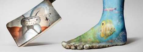 Intricately-Painted Foot Ads - The Sete Leguas Boots Campaign Wants to Protect Toes