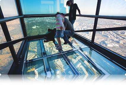 Skydeck 88 Observation Deck - Glass Cube Protrudes From Building