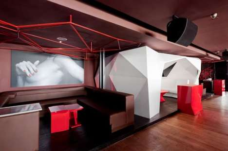 Blood Red Lounges - Bar Rouge in Shanghai by Naco Architectures Mixes Laser Beams & Hot Women