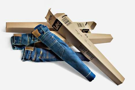 Cardboard Pant Baggage - Lee Skinny Jeans Packaging Packs Your Jeans in a Container