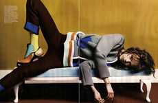 Lounging Schoolgirl Fashions - The Freja Beha Erichsen Vogue UK Spread is Colorful