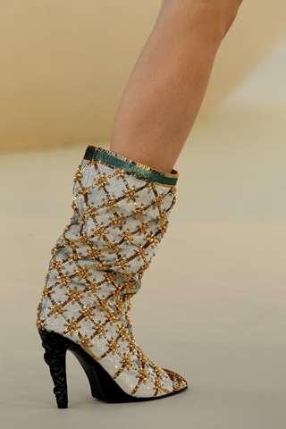 Gold Embroidered Booties