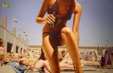Beach Babe Paintings - Hilo Chen Depicts Photorealistic Bikini-Clad Women
