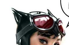 Pop Icon Combos - 'Audrey Hepburn Catwoman' Art by Adam Hughes Combines Two Iconic Figures