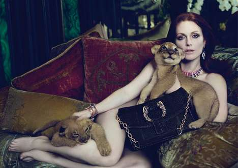 Feral Lingerie Ads - Julianne Moore is Fearless for the Bulgari Fall Campaign