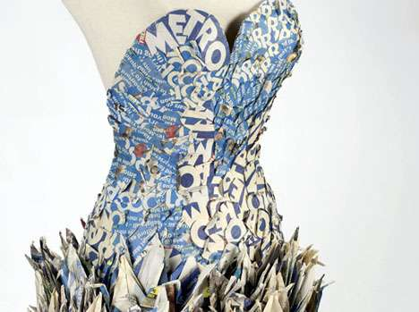 Paper Crane Frocks - The Yuliya Kyrpo Upcycled Origami Dress is Made of Reused Newspapers