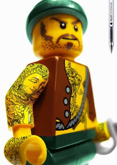 Tattooed LEGO Toys - The Extrafine Pilot Pen Campaign Adds Body Art to Iconic Objects