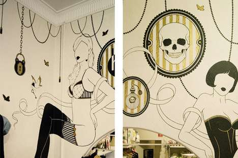 Morbid Murals - 'Harry and Gretal' Walls by Cale Mason Blend Skulls and Retro Imagery