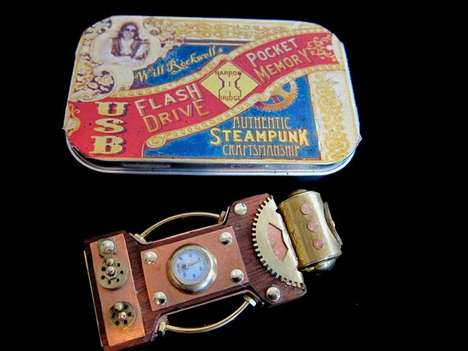 Hardwood Flash Drives - The Narrow Bridge Steampunk USB Comes in a Faux Vintage Tin Box