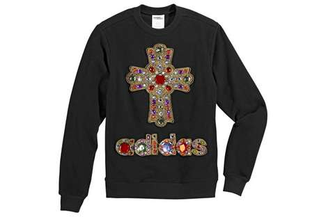 Bedazzled Crucifix Crewnecks