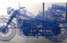 Wireframe Motorcycles - Shi Jindian Mimicks the Chiangjiang 750 Bike with Wires