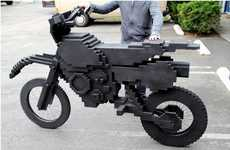 Pixelated Video Game Bikes - Life Size ExciteBike Sculpture Pays Homage