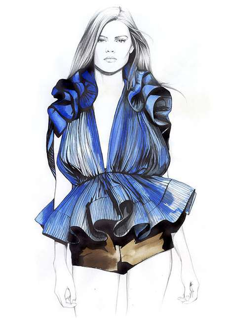Caroline Andrieu Draws Eye-Popping and Detailed Clothing