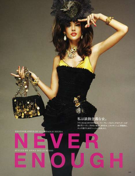 Gaudy Fashion Spreads - Overt Glamor for Vogue Nippon