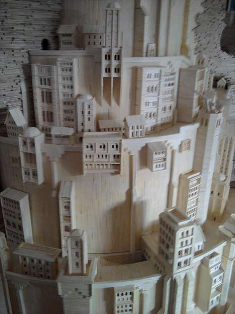 Matchstick Mystical Towers - The Minas Tirith Tower from 'Lord of the Rings' Made by Patrick Acton
