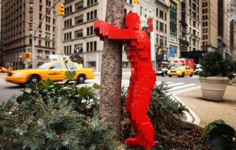 Toy Block Graffiti - Nathan Sawaya's 'Hugman' LEGO Art Takes to the Streets of NYC