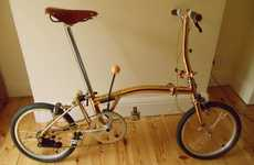 24-Carat Convertible Cycles - The Gold-Plated Brompton Bike is Ritzy and Retractable