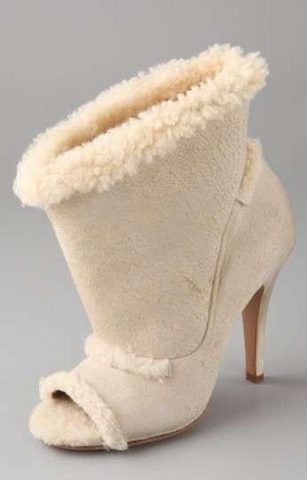 Furry Peep-Toe Pumps