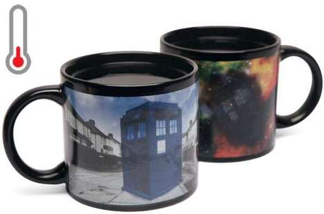 The Heat Changing Tardis Mug Travels to Outer Space