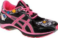 Cutesy Cartoon Kicks - These Asics Hello Kitty Athletic Shoes are for the Young at Heart