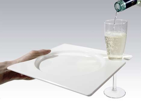 Champagne-Carrying Plates - The Happy Dish by Elena Pogliani Stores Your Glass of Bubbly