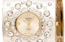 Opulent Cuff Timepieces - The Golden Classic 'Decadence' is Bold and Beautiful