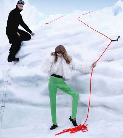 Ice-Climbing Fashiontography - Abbey Lee Kershaw for The Big Chill in Harper's Bazaar