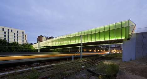 Glowing Green Bridges - A Gridded Walkway by Jacques Ferrier Architects