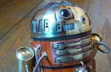 Wooden Robot Icons - The Steampunk R2-D2 Comes from a Galaxy Not So Far Away
