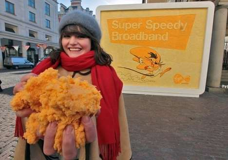 Edible Cheesy Billboards - The Prudence Staite Virgin Mobile Campaign Uses 10 Types of Cheese
