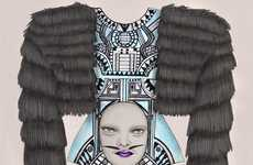 Freaky Fashion Illustrations - Tara Dougans Creates Creepy Haute Couture Sketches