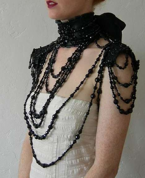 Morticia-Inspired Torso Tassels - The Mascherina Modern Mourning Shoulder Piece is Hot
