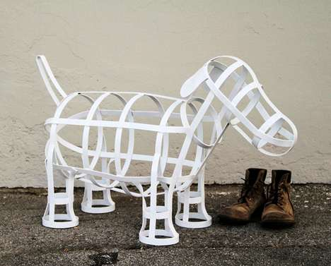 Caged Pup Sculptures